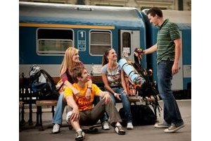 (Young Hungarian railway travelers )